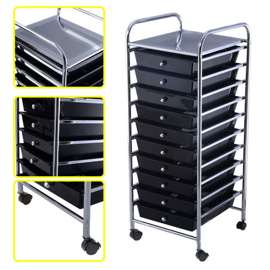 Picture of 10 Drawer Rolling Organizer Storage Cart Black