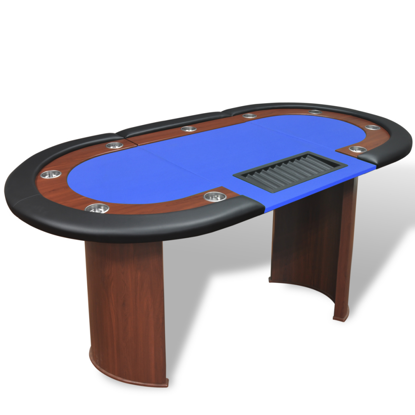 Picture of 10-Player Poker Table with Dealer Area and Chip Tray - Blue