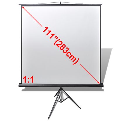 "Picture of 111"" 1:1 Portable Manual Projection Screen / Height Adjustable Tripod Stand"