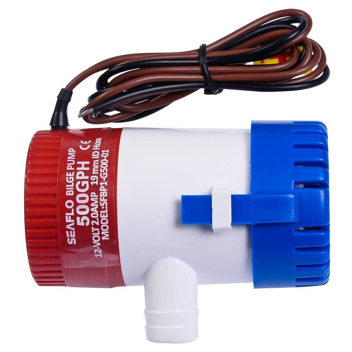 """Picture of 12V 2.0A 500 GPH Electric Bilge Pump Marine Boat Yacht Submersible 3/4"""" Hose"""