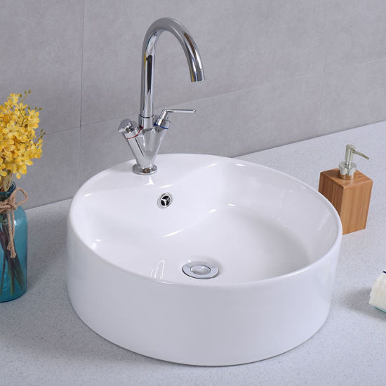 """Picture of 18""""x 18"""" Round Bathroom Ceramic Vessel Sink Bowl Porcelain with Pop Up Drain Basin"""
