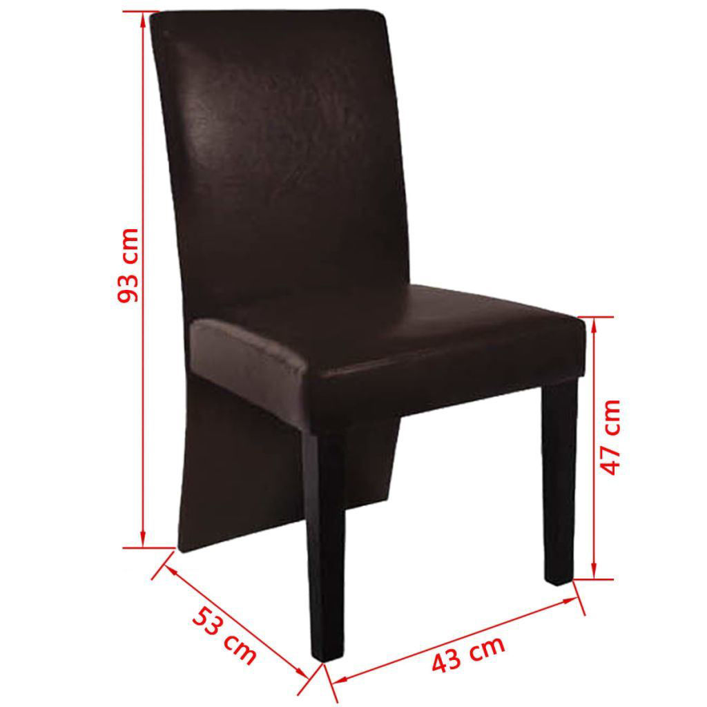 Picture of 2 dining chairs faux leather dark brown