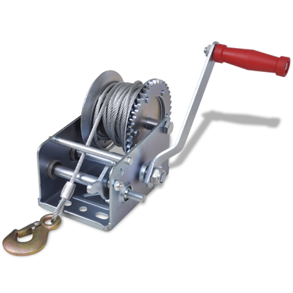 Picture of 2000lb Heavy Duty Hand Crank Boat ATV Trailer Winch with Hook