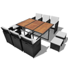 Picture of 27 Piece Outdoor Dining Set Black Poly Rattan Acacia Wood