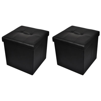Picture of Ottoman Footstool - Black 2 pc