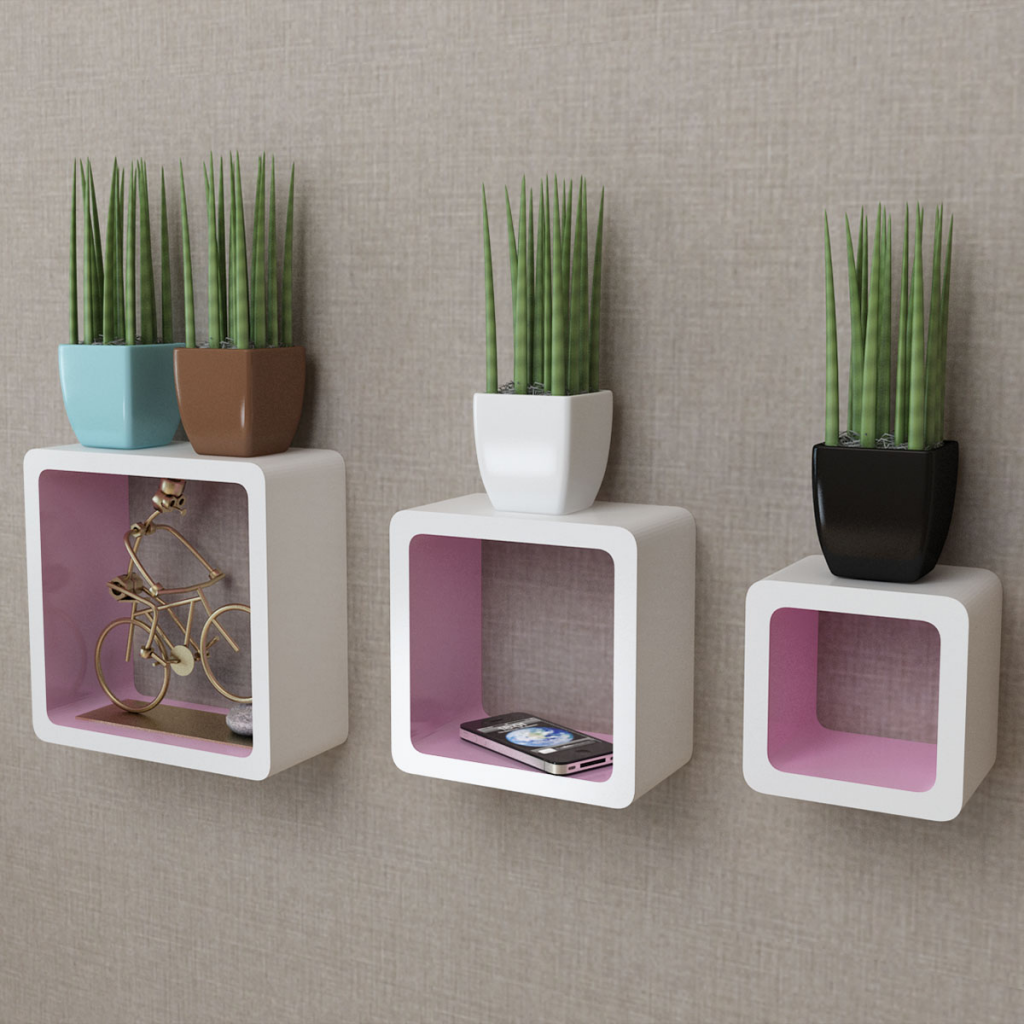 Picture of 3 White-Pink MDF Floating Wall Display Shelf Cubes Book/DVD Storage