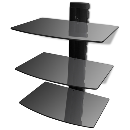 Picture of 3-tier Wall Mounted Glass DVD Shelf Black
