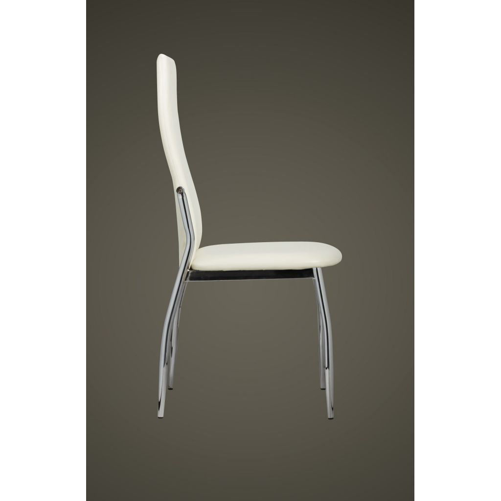 Picture of 4 Dining chairs chrome white leather