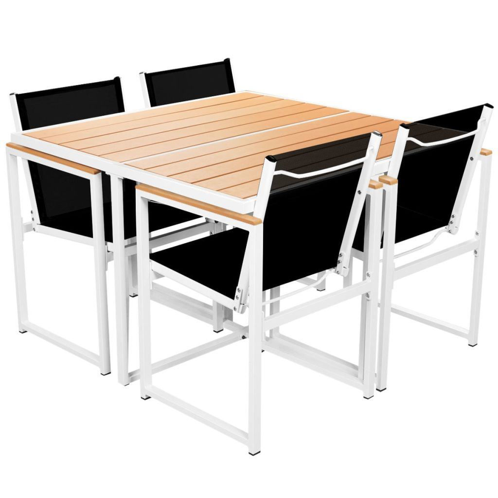 Picture of 5pc Outdoor Dining Set - Aluminum - WPC Brown