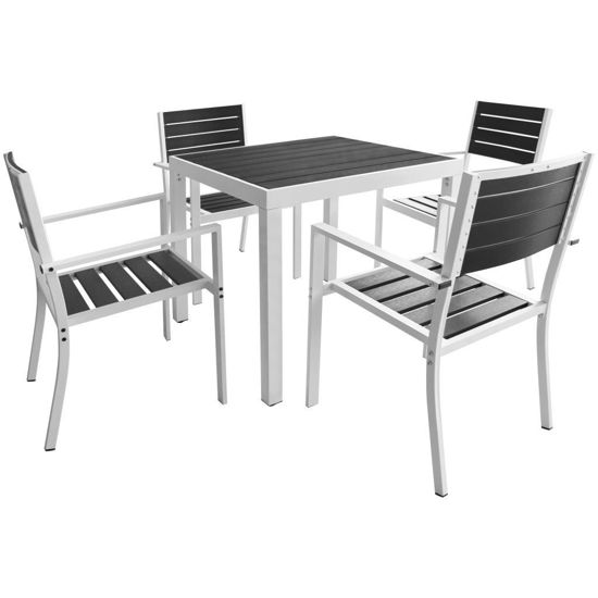 """Picture of 5pc Outdoor Dining Set 31"""" - Aluminum WPC"""