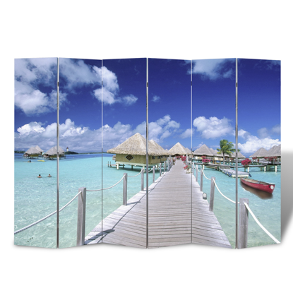 "Picture of 6-Panel Room Divider Folding Double Sided Screen Beach Print 94.5"" x 70.9"""