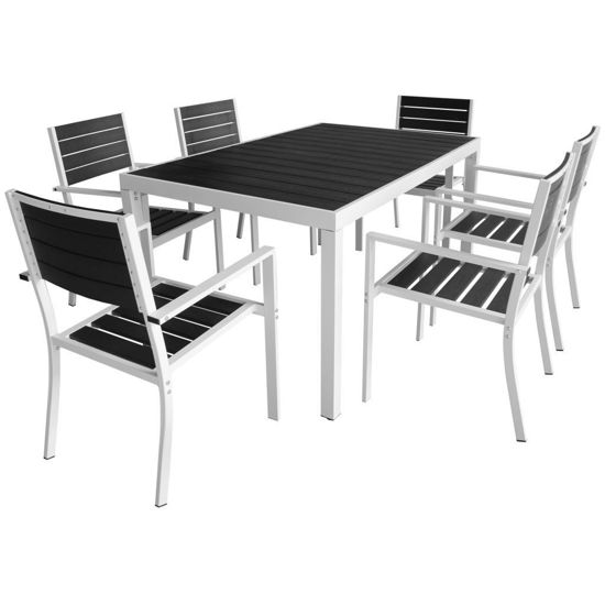 """Picture of 7pc Outdoor Dining Set 59"""" - Aluminum WPC"""
