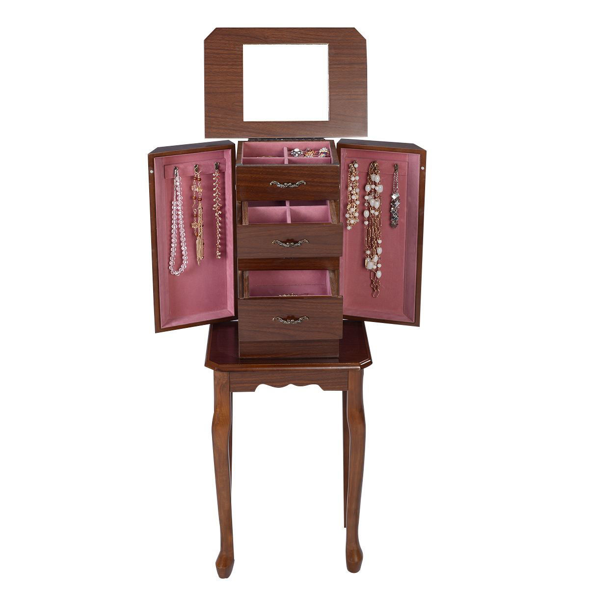 Picture of Armoire Jewelry Cabinet Wood Box Storage Organizer