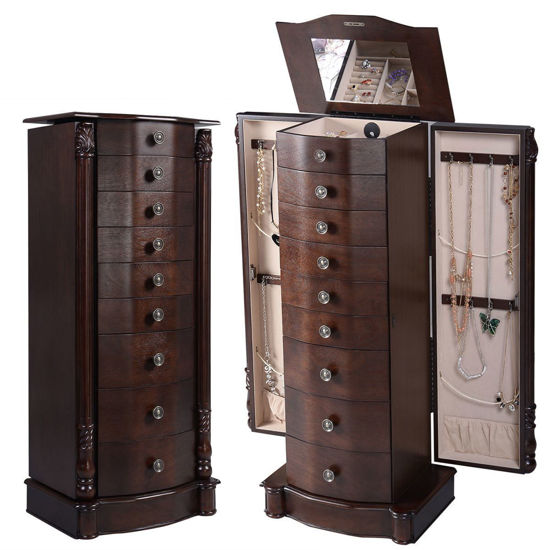 Picture of Armoire Jewelry Wood Storage Organizer Cabinet Stand