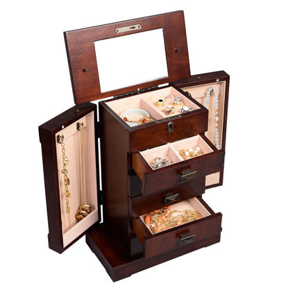 Picture of Armoire Wood Jewelry Cabinet Box Storage Stand Organizer