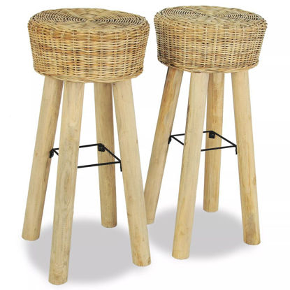 "Picture of Bar Stools 2 pcs 13.8""x29.9"" Natural Rattan"