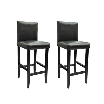 Picture of Bar Stools 2 pcs Artificial Leather Black