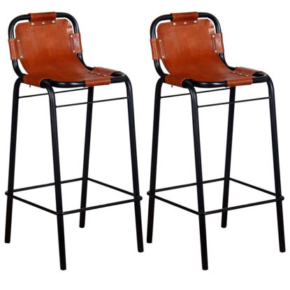 "Picture of Bar Stools 2 pcs Genuine Leather 18.1""x17.7""x37"""