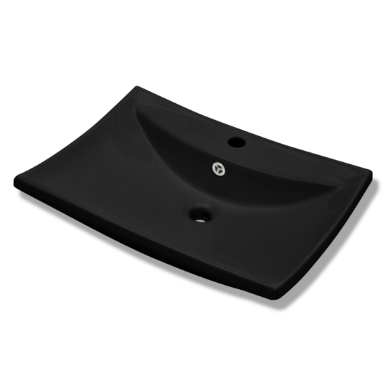 Picture of Bathroom Basin Ceramic Sink with Overflow and Faucet Hole - Black
