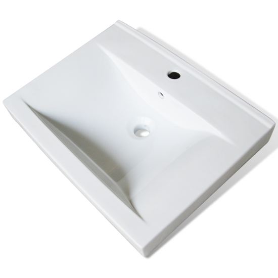 "Picture of Bathroom Ceramic Basin Rectangular Sink - White 23.6"" x 18.1"""