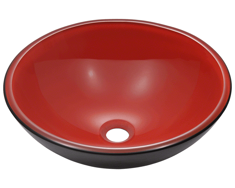 Picture of Bathroom Glass Sink Classic Bowl-Shaped Double-Layer Vessel