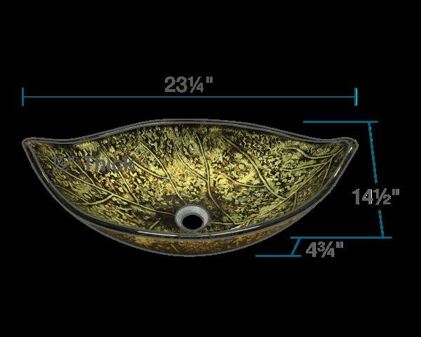 Picture of Bathroom Glass Sink Leaf-Shaped Vessel - Foil Undertone