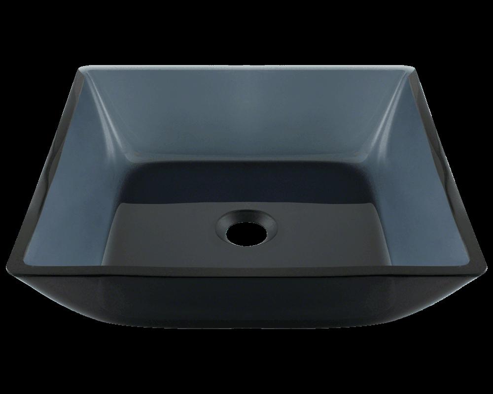 Picture of Bathroom Glass Sink Square Vessel - Black