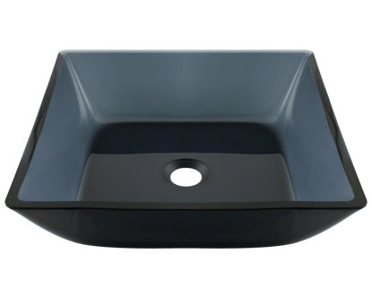 Picture of Bathroom Glass Sink Square Vessel - Black