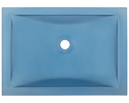 Picture of Bathroom Glass Undermount Sink Rectangular - Blue Frosted