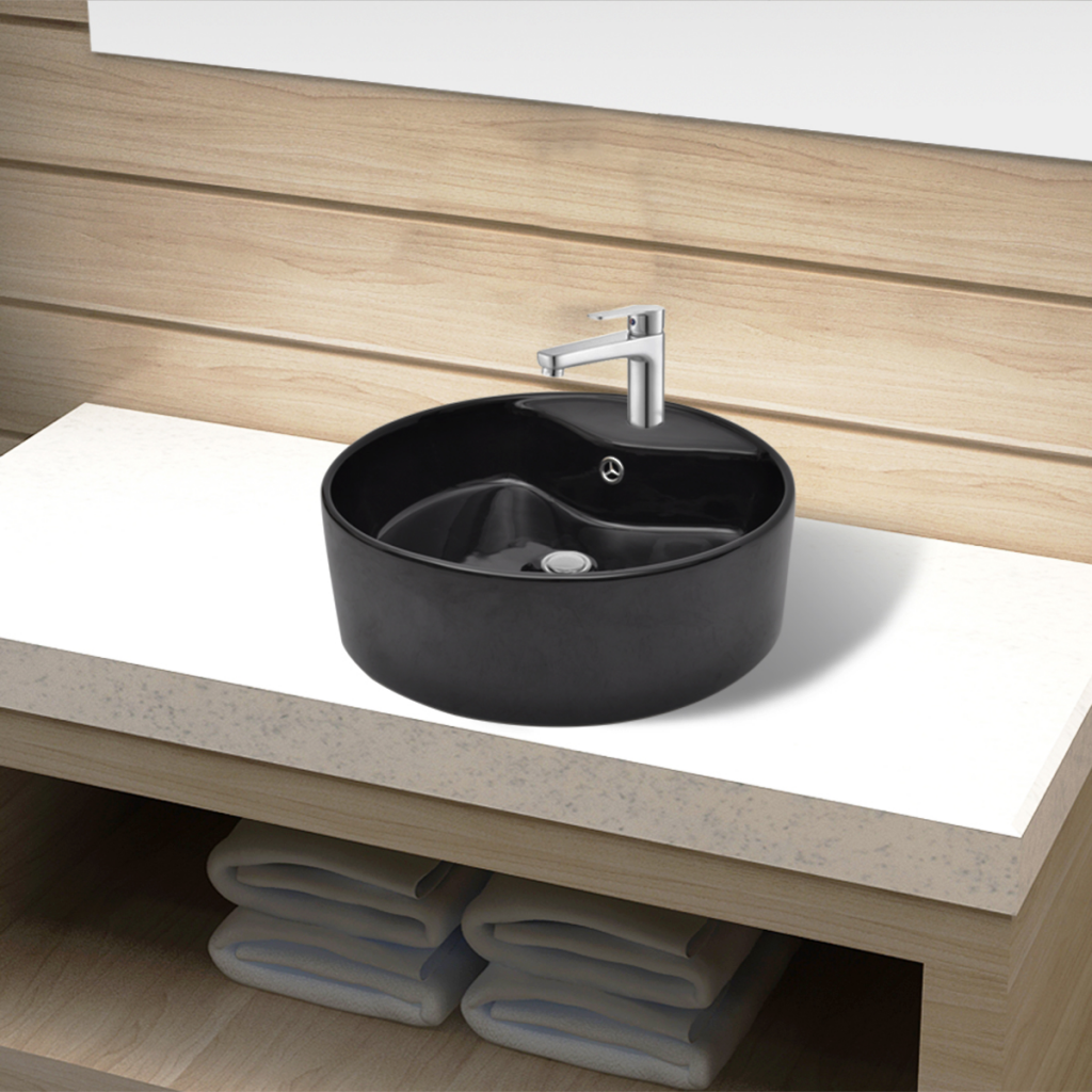Picture of Bathroom Sink Round Basin Faucet/Overflow Hole Ceramic - Black