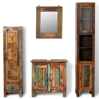 Picture of Bathroom Vanity Cabinet Set with Mirror & 2 Side Cabinets - Reclaimed Solid Wood
