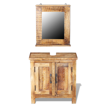 Picture of Bathroom Vanity Cabinet with Mirror Solid Mango Wood