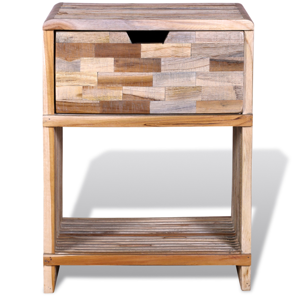 Picture of Bedroom Bedside Cabinet with Drawer - Reclaimed Teak