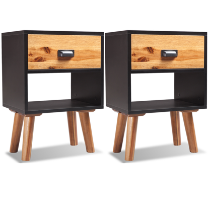 "Picture of Bedroom Bedside Cabinets 2 pcs 15"" - Solid Acacia Wood"