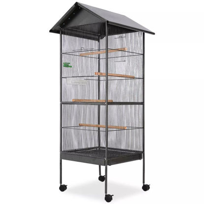 Picture of Bird Cage with Roof - Black