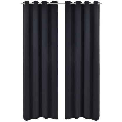 "Picture of Blackout Curtains with Metal Rings 53"" x 96"" - 2 pcs Black"