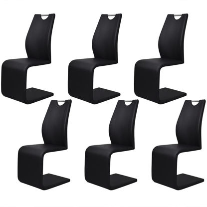 Picture of Cantilever Dining Chairs 6 pcs Artificial Leather Black