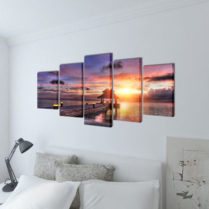 "Picture of Canvas Wall Print Set Beach with Pavilion 79"" x 39"""