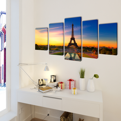 "Picture of Canvas Wall Print Set Eiffel Tower 79"" x 39"""