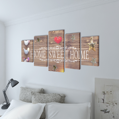 "Picture of Canvas Wall Print Set Home Sweet Home Design 79"" x 39"""