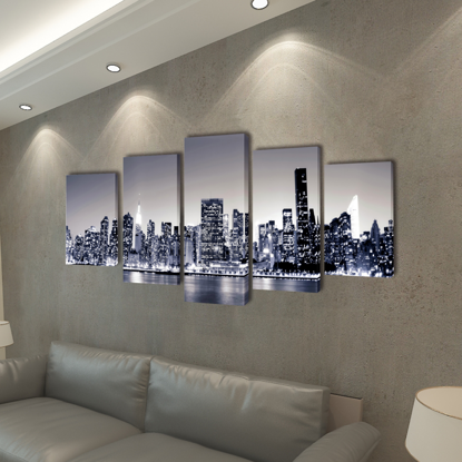 "Picture of Canvas Wall Print Set Monochrome New York Skyline 39"" x 20"""