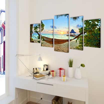 "Picture of Canvas Wall Print Set Sand Beach with Hammock 79"" x 39"""
