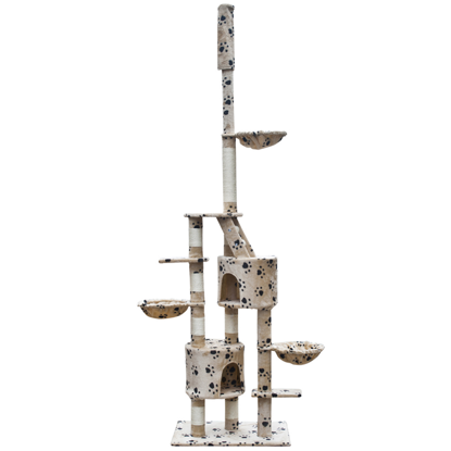 """Picture of Cat Tree Cuddles XL 90"""" - 102"""" Beige with Paw Prints Plush"""