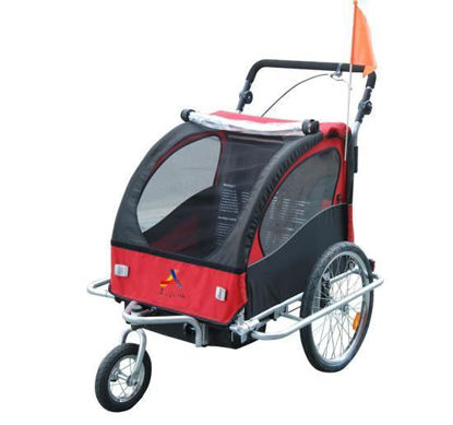 Picture of Child Double Stroller, Jogger and Bike Trailer 3 in 1- Red/Black