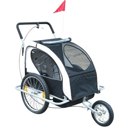 Picture of Child Double Stroller and Bike Trailer and 2-in-1 - Black