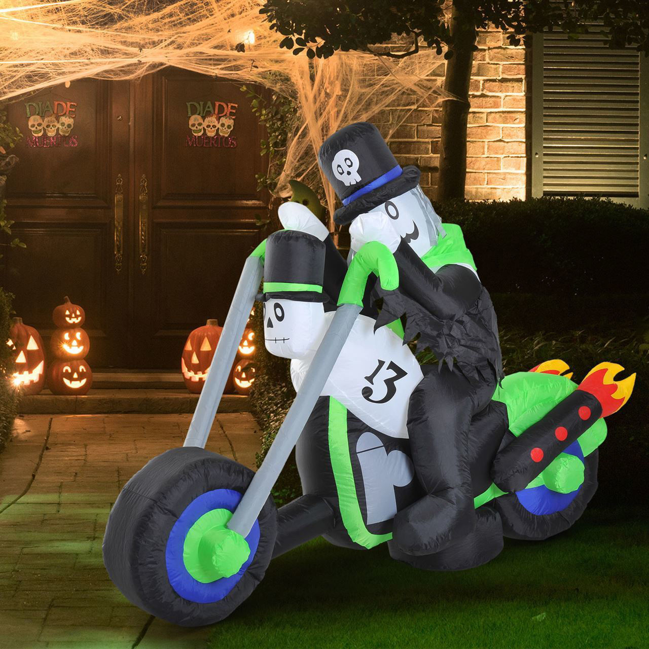 Picture of Christmas Decor 6Ft Inflatable Ghost on Motorcycle LED