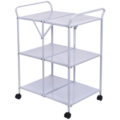 Picture of Dining  Kitchen Rolling Trolley Serving Island Cart Folding - 3 Tier