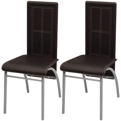 Picture of Dining Chairs 2 pcs Artificial Leather Brown