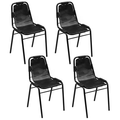 "Picture of Dining Chairs 4 pcs Black 19.3""x20.5""x34.6"" Real Leather"