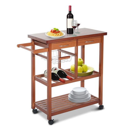 Picture of Dining Rolling Trolley Cart Storage with Drawers